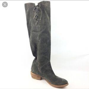 Bronx   Grey Knee High Side Tie Suede Boots